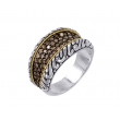 Alesandro Menegati 18K Accented Sterling Silver Ring with Brown Diamonds