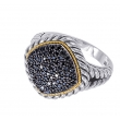 Alesandro Menegati 18K Accented Sterling Silver Ring with Black Diamonds