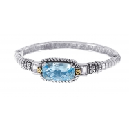 Picture of Alesandro Menegati 14K Accented Sterling Silver Bangle with Blue and White Topaz