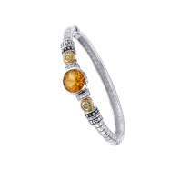 Picture of Alesandro Menegati 14K Accented Sterling Silver Bangle with White Topaz, Peridot and Citrine