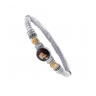Picture of Alesandro Menegati 14K Accented Sterling Silver Bangle with Blue and White Topaz, Smoky Quartz and Citrine