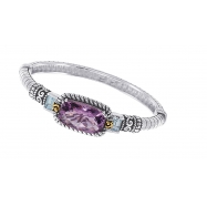 Picture of Alesandro Menegati 14K Accented Sterling Silver Bangle with Blue Topaz and Amethyst