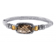 Picture of Alesandro Menegati 14K Accented Sterling Silver Bangle with Smoky Quartz and Citrines
