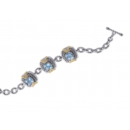 Picture of Alesandro Menegati 14K Accented Sterling Silver Bracelet with Blue and White Topaz