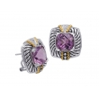 Alesandro Menegati 14K Accented Sterling Silver Earrings with White Topaz and Amethyst