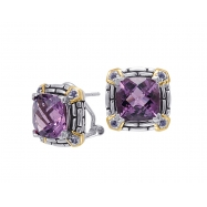 Picture of Alesandro Menegati 14K Accented Sterling Silver Earrings with Amethyst and Iolite