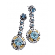 Picture of Alesandro Menegati 14K Accented Sterling Silver Earrings with Blue Topaz and Diamonds