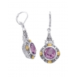 Alesandro Menegati 14K Accented Sterling Silver Earrings with Diamonds and Amethyst