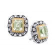 Alesandro Menegati 14K Accented Sterling Silver Green Amethyst and Diamonds Earrings