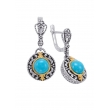 Alesandro Menegati 14K Accented Sterling Silver Earrings with Turquoise