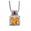 Alesandro Menegati 14K Accented Sterling Silver Necklace with Citrine and Garnet