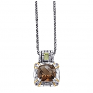 Picture of Alesandro Menegati 14K Accented Sterling Necklace with Smoky Quartz/Peridot/Iolites
