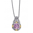 Alesandro Menegati 14K Accented Sterling Silver Necklace with Diamonds and Amethyst