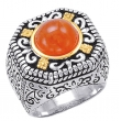 Alesandro Menegati 14K Accented Sterling Silver Ring with Carnelian