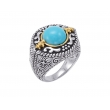 Alesandro Menegati 14K Accented Sterling Silver Ring with Turquoise