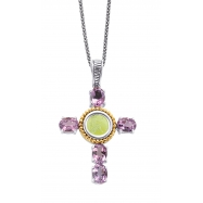 Picture of Alesandro Menegati 14K Accented Sterling Silver Cross Necklace with Amethysts