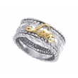 "Alesandro Menegati 14K Gold & Sterling Silver ""Love"" Ring"