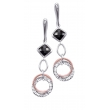 Alesandro Menegati Rose Gold Accented Sterling Silver Fashion Earrings with Black Onyx