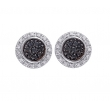 Alesandro Menegati Sterling Silver Earrings with Black and White Diamonds