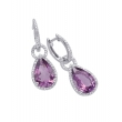 Alesandro Menegati Sterling Silver Pendant Earrings with Diamonds and Amethyst