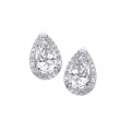 Alesandro Menegati Sterling Silver Pear Stud Earrings with Diamonds and White Topaz