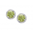 Alesandro Menegati Sterling Silver Round Stud Earrings with Diamonds and Peridots