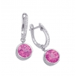 Alesandro Menegati Sterling Silver Earrings with Diamonds and Pink Quartz