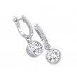 Alesandro Menegati Sterling Silver Earrings with Diamonds and White Topaz