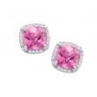 Alesandro Menegati Sterling Silver Stud Earrings with Diamonds and Pink Quartz