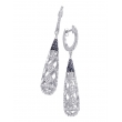 Alesandro Menegati Sterling Silver Black Diamonds and White Topaz Fancy Fashion Earrings