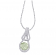Alesandro Menegati Sterling Silver Necklace with Diamonds and Green Amethyst
