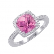 Alesandro Menegati Sterling Silver Ring with Diamonds and Pink Quartz