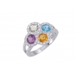 Alesandro Menegati Sterling Silver Ring with Gemstones