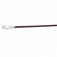 Picture of 14K White Gold 16.00 Inch Brown Leather Cord