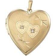 Picture of 14K Yellow Gold Heart Shaped Locket With Diamond