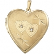 14K Yellow Gold Heart Shaped Locket With Diamond