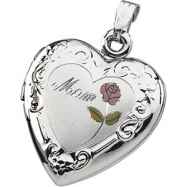 Picture of Sterling Silver Tri Color Mom Heart Shaped Locket