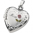 Sterling Silver Tri Color Mom Heart Shaped Locket