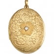 14K Yellow Gold 29.25x20.5 Oval Locket With Rose&diamond