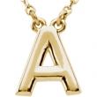"14K A 16"""" Yellow Gold Fashion Block Initial Necklace"