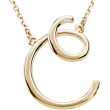 "14K C 16"""" Yellow Gold Fashion Script Initial Necklace"