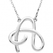 "14K A 16"""" White Gold Fashion Script Initial Necklace"