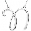 Sterling N Silver Fashion Script Initial Necklace