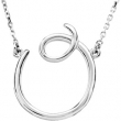 Sterling O Silver Fashion Script Initial Necklace