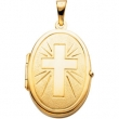 14K Yellow Gold Oval Shaped Locket With Cross