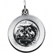 Sterling Silver 14.75 Rd Baptism Pend Medal With 18 Inch Chain