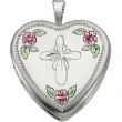 Sterling Silver Tri Color Fancy Cross Locket