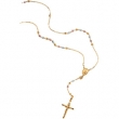 14K Yellow White Rose Gold 16.00 Inch Tricolor Rosary Necklace