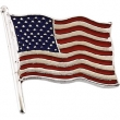 14K White Gold Color American Flag Lapel Pin