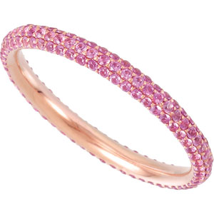 14K Rose Gold Pink Sapphire Eternity Band